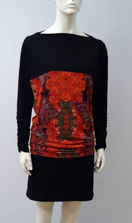 Vestita Robe Tunique imp orange  Dress Tunic orange print -T1